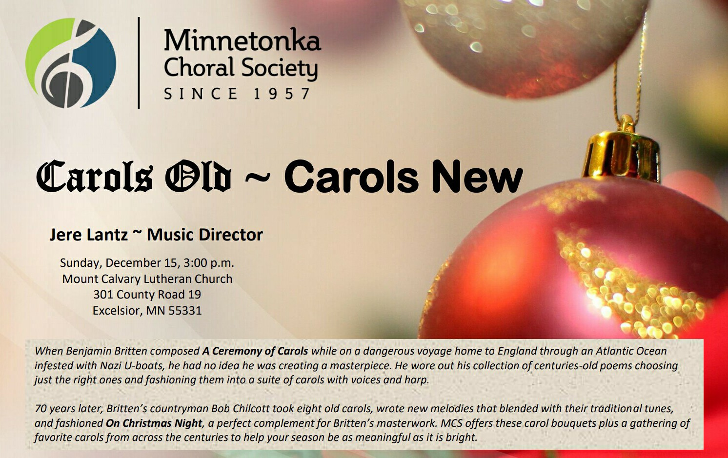 Holiday Concert Presented By Minnetonka Choral Society With Jere
